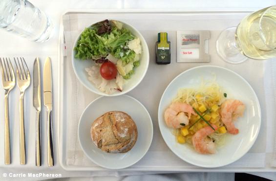 SWISS business class meal