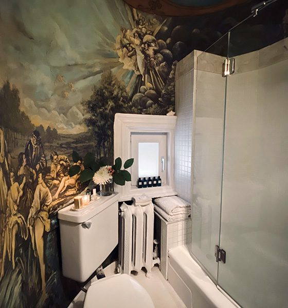 (English) A turret bathroom with a rococo mural