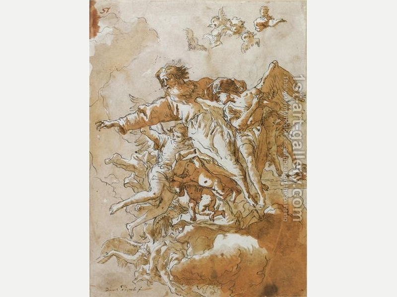 God the Father in the Clouds supported by Angels and Putti by Giovanni Domenico Tiepolo