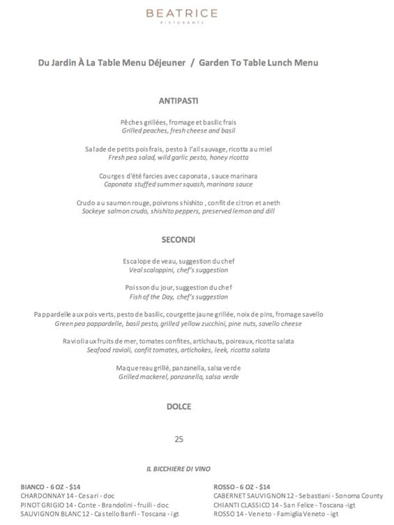 Ristorante Beatrice Lunch Menu